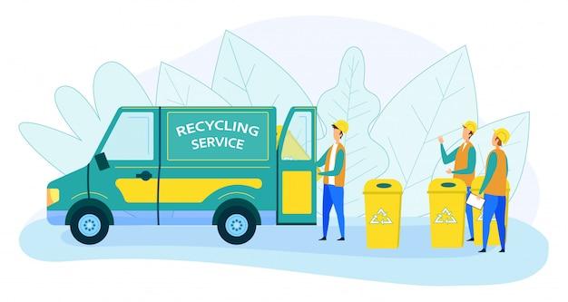 Pracownicy miejskich służb recyklingowych ładowanie śmieci