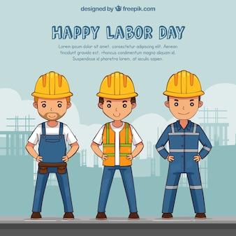 Pracownicy noszący tło kasku