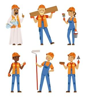 Pracownicy płci męskiej i żeńskiej w mundurach. inżynierowie i budowniczowie przy pracy. zestaw znaków izolować. charakter inżyniera pracownika, ilustracja wykonawca profesji
