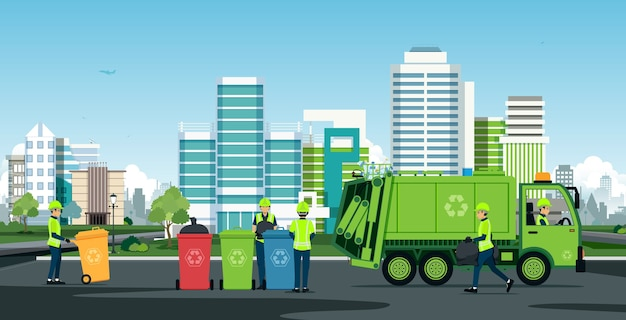 Pracownicy pracują przy śmieciarkach z budynkami w tle
