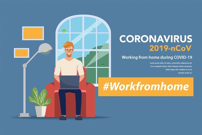 Pracownicy pracują z domu, aby uniknąć rozprzestrzeniania się koronawirusa. Postać programisty programisty.