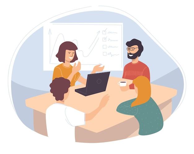 Pracownicy pracujący nad nowym projektem firmy. osoby omawiające pomysły i planowanie, strategię i prezentację planu. sesja burzy mózgów. postacie z laptopami siedzą przy stole. wektor w stylu płaskiej