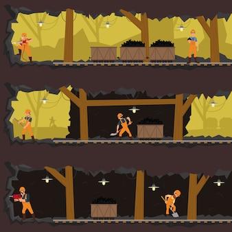 Pracownicy pracujący w kopalni na różnych poziomach.