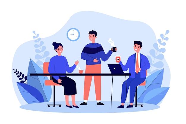 Pracownicy razem piją kawę. pracownicy biurowi, ciesząc się, poranna przerwa na kawę, ilustracja. komunikacja, koncepcja spotkania kolegów na baner, stronę internetową lub stronę docelową