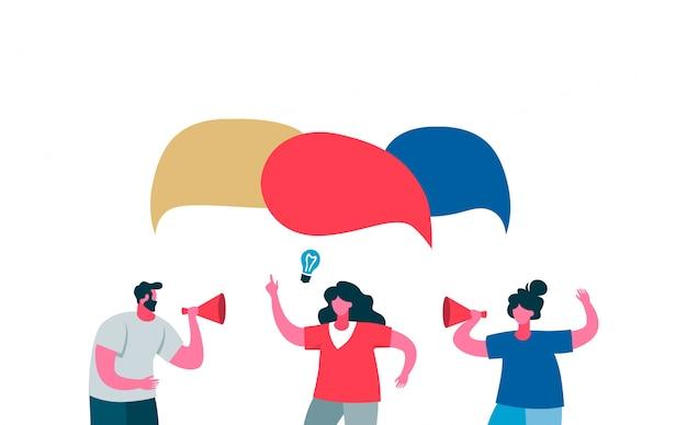 Pracownicy reklamowi nowego projektu bańka mowy świeżych pomysłów. dwie kobiety i mężczyzna z głośnikiem reklamują produkt.