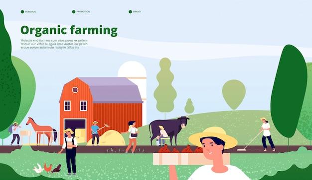 Pracownicy rolni pracują ze sprzętem w koncepcji wektora przyrody, rolnictwa i rolnictwa ekologicznego