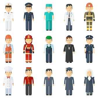 Pracownicy różnych zawodów mężczyźni w mundurach