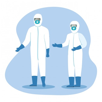 Pracownicy służby zdrowia w odzieży ochronnej na koronawirusa 2019