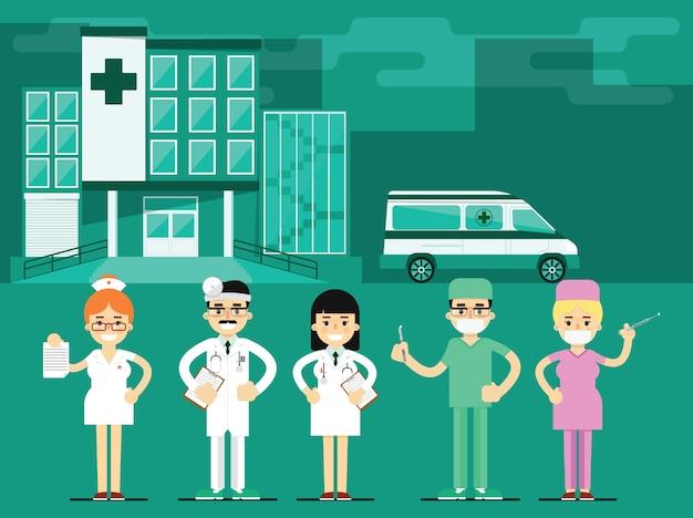 Pracownicy służby zdrowia w szpitalnym tle