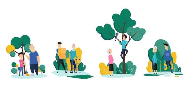 Pracownicy socjalni opiekujący się seniorami. młodzi wolontariusze pomagają starszym mężczyznom i kobietom w różnych sytuacjach. płaska kreskówka.