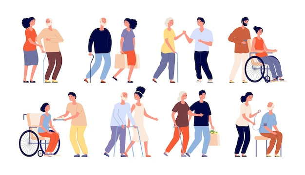 Pracownicy socjalni. pomóż seniorowi grupie, wolontariuszom. wspieraj społeczność usługową lub pomocny personel studentów