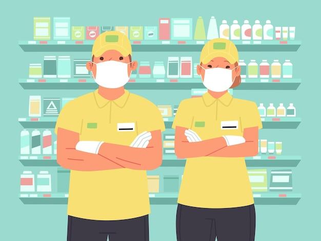Pracownicy supermarketu w maskach i rękawicach ochronnych. sklep spożywczy pracowników mężczyzny i kobiety w mundurze. ilustracja wektorowa w stylu płaski