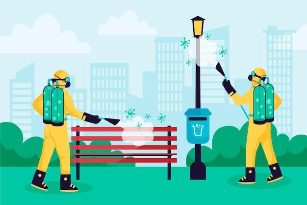Pracownicy świadczący usługi sprzątania w miejscach publicznych