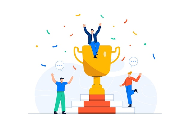 Pracownicy świętujący sukces biznesowy z ogromnym trofeum