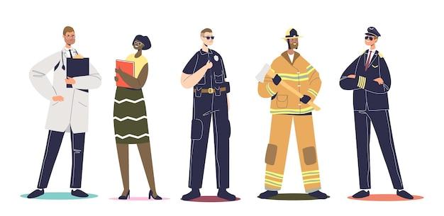Pracownicy w mundurach zawodowych: pilot, strażak, policjant policjant, nauczyciel i lekarz na białym tle. zestaw osób noszących ubrania robocze. ilustracja kreskówka płaski wektor