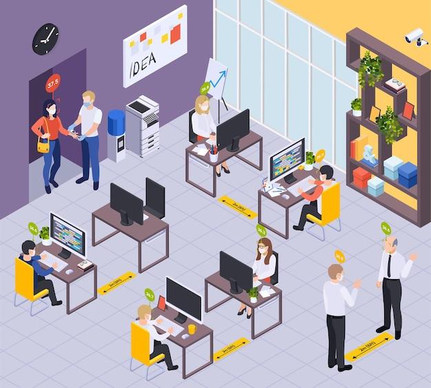 Pracownicy w wnętrzu biurowym ze znacznikami dystansu społecznego i badaniami medycznymi na ilustracji izometrycznej wejścia