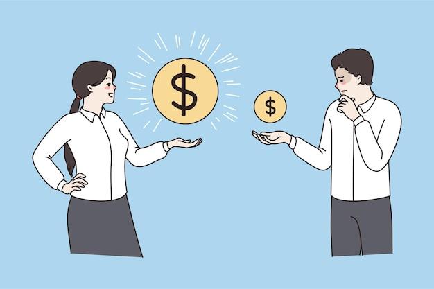 Pracownicy z monetami wykazują zróżnicowanie wynagrodzenia