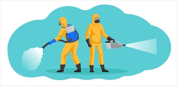 Pracownicy zajmujący się odkażaniem, dezynfekcją i zwalczaniem szkodników. osoby w kombinezonach ochrony chemicznej używają generatorów zimnej mgły.