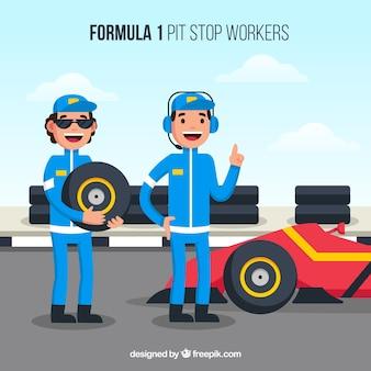 Pracownicy zatrudnieni na postoju w formule 1