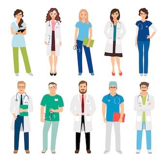 Pracownicy zespołu medycznego opieki zdrowotnej na białym tle. uśmiechnięci lekarze i pielęgniarki w mundurach dla projektów opieki zdrowotnej. ilustracji wektorowych