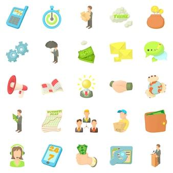 Pracownik banku zestaw ikon, stylu cartoon