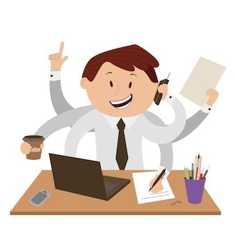 Pracownik biurowy bardzo zajęty.