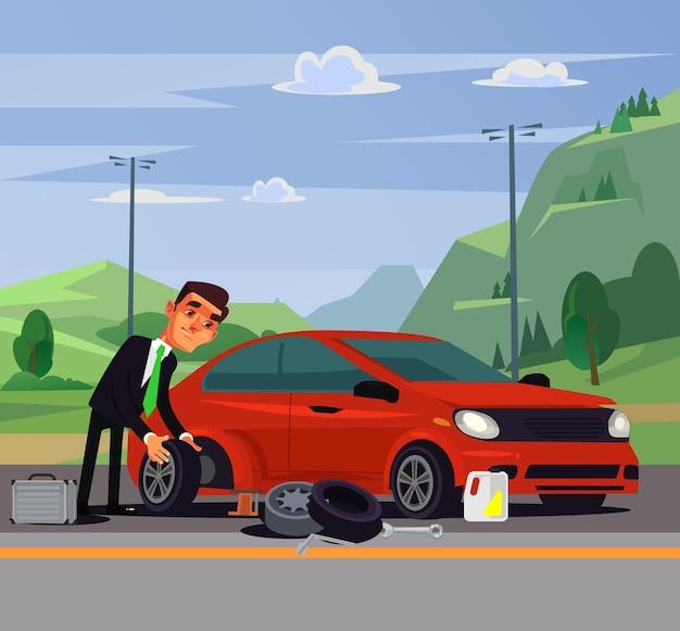 Pracownik biurowy biznesmen mężczyzna zmienia postać naprawiania koła samochodu