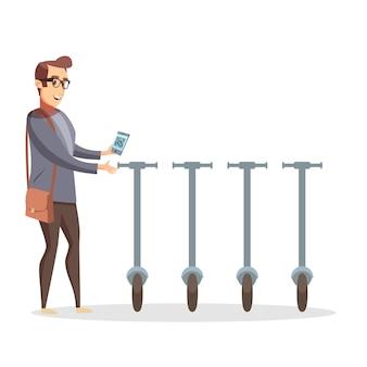 Pracownik biurowy biznesmen z torebką odblokowuje skuter elektryczny za pomocą telefonu komórkowego z kodem qr. nowoczesny ekologiczny transport. wypożyczenie skutera ilustracyjnego.