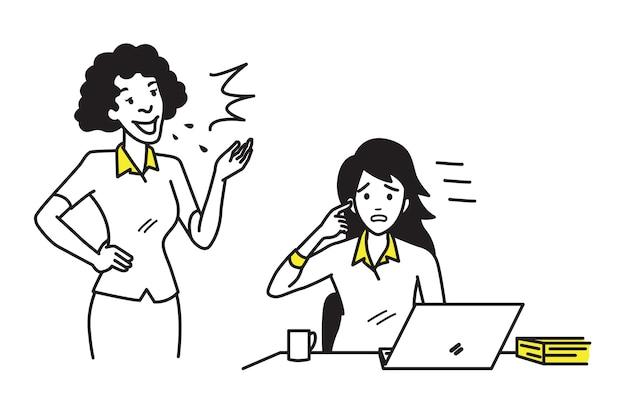Pracownik biurowy bizneswoman robi hałas zbyt głośno i głośno