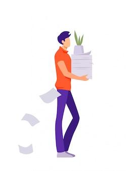 Pracownik biurowy charakter kreskówka mężczyzna niesie papier.