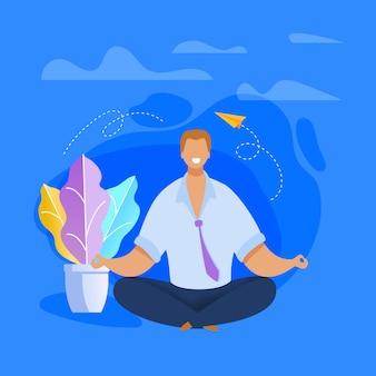 Pracownik biurowy medytuje płaski ilustracja