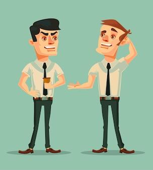 Pracownik biurowy mężczyzny mówi plotki do postaci innego mężczyzny, płaska ilustracja kreskówka