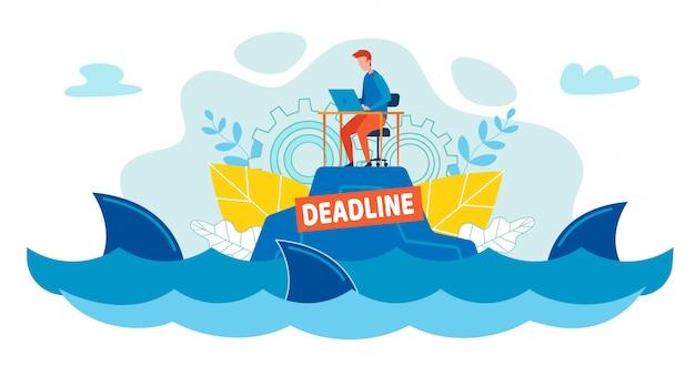 Pracownik biurowy pływa wśród rekinów w oceanie lub morzu.