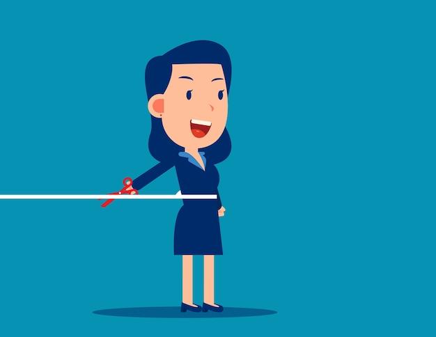 Pracownik biurowy przecinający linę, naucz się odłączać