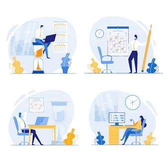 Pracownik biurowy robi zadania przed upływem terminu wektor.