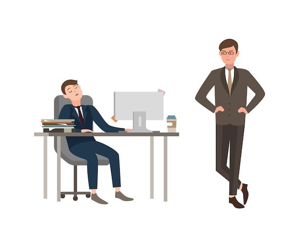 Pracownik biurowy ubrany w garnitur siedzi przy biurku z komputerem i śpi, gniewnie na niego patrzy szef. pojęcie zmęczenia w pracy. ilustracja kreskówka