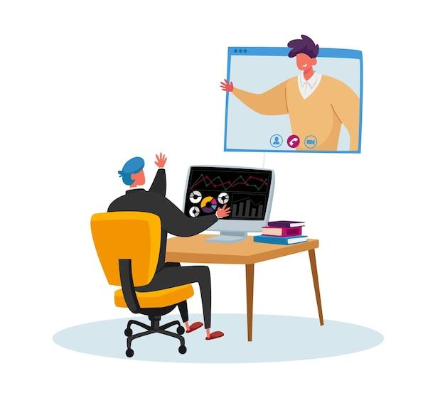 Pracownik biurowy usiądź przy biurku, rozmawiając ze współpracownikiem za pośrednictwem konferencji internetowej na ekranie komputera