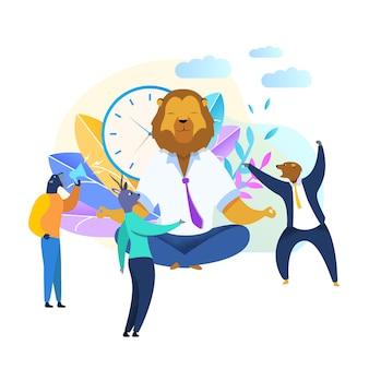 Pracownik biurowy z lion head medytując clipart