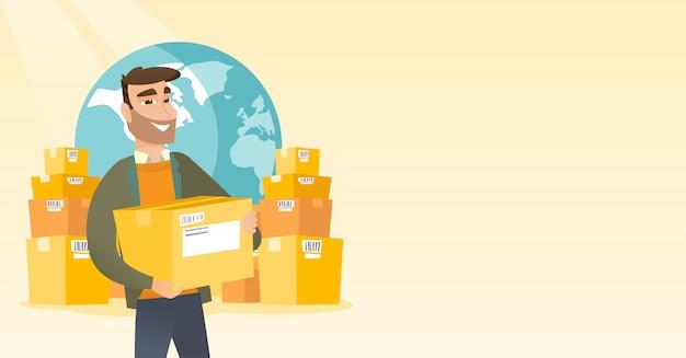 Pracownik biznesowy międzynarodowej usługi dostawy.