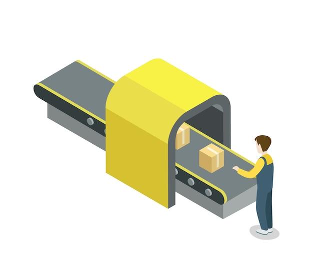 Pracownik blisko pasowej linii produkcyjnej isometric ilustraci