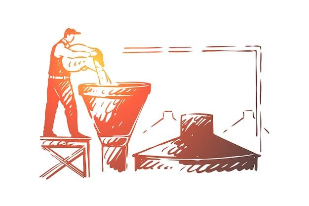 Pracownik browaru, pracownik fabryki alkoholu, piwowar wlewający składnik w ilustracji zbiornika
