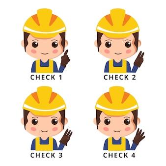 Pracownik budowlany, aby sprawdzić zestaw