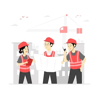 Pracownik budowlany charakter ilustracja wektor