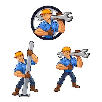 Pracownik budowlany kreskówka