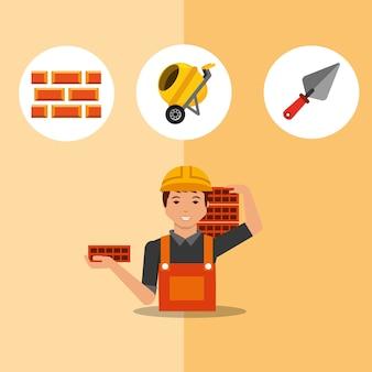 Pracownik budowlany niosący cegły szpachlą mikser i cegły narzędzia wektorowych ilustracji