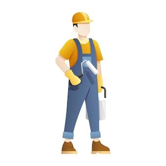 Pracownik budowlany posiada sprzęt do malowania