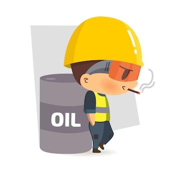 Pracownik budowlany postaci palenie wokół niebezpiecznych substancji, ilustracja, bezpieczeństwo i wypadek, bezpieczeństwo przemysłowe.