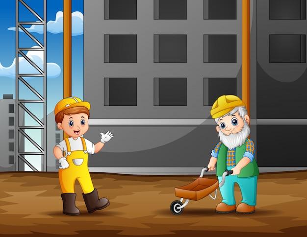 Pracownik budowlany przy budowy tłem