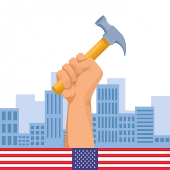 Pracownik budowlany ręki trzymającej narzędzie