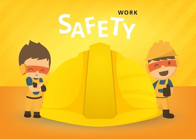 Pracownik budowlany repairman, bezpieczeństwo najpierw, zdrowie i bezpieczeństwo, ilustrator